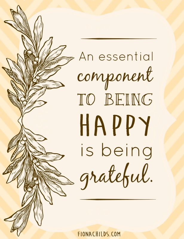 An essential component to being happy is being grateful.