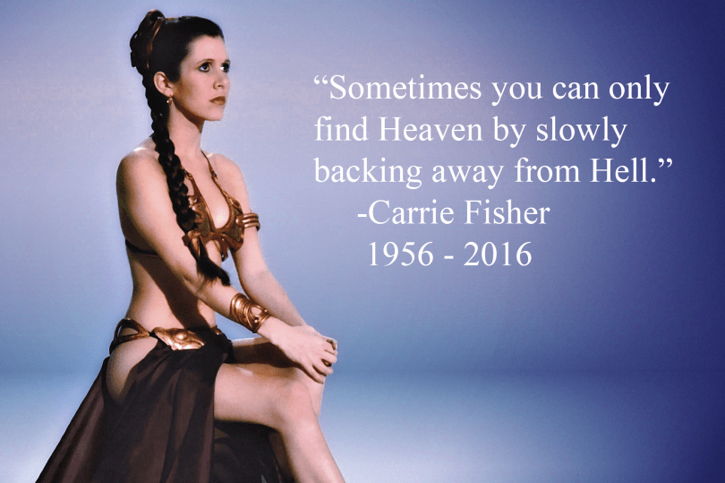 Sometimes you can only find Heaven by slowly backing away from Hell. - Carrie Fisher