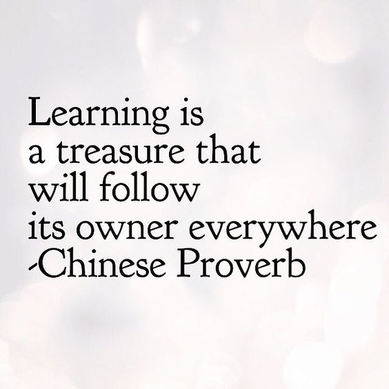 Learning is a treasure that will follow its owner everywhere - Chinese Proverb
