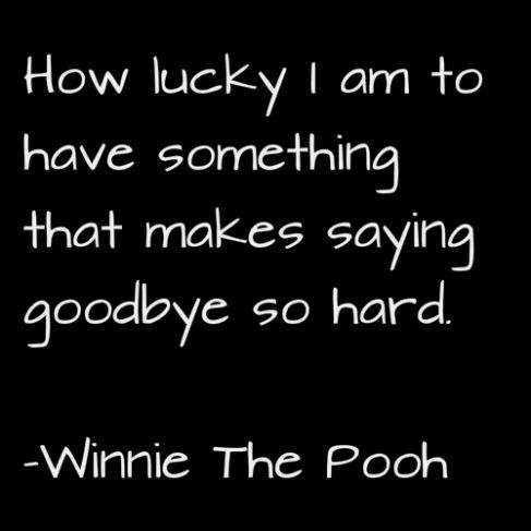 How lucky I am to have something that makes saying goodbye so hard. – Winnie The Pooh