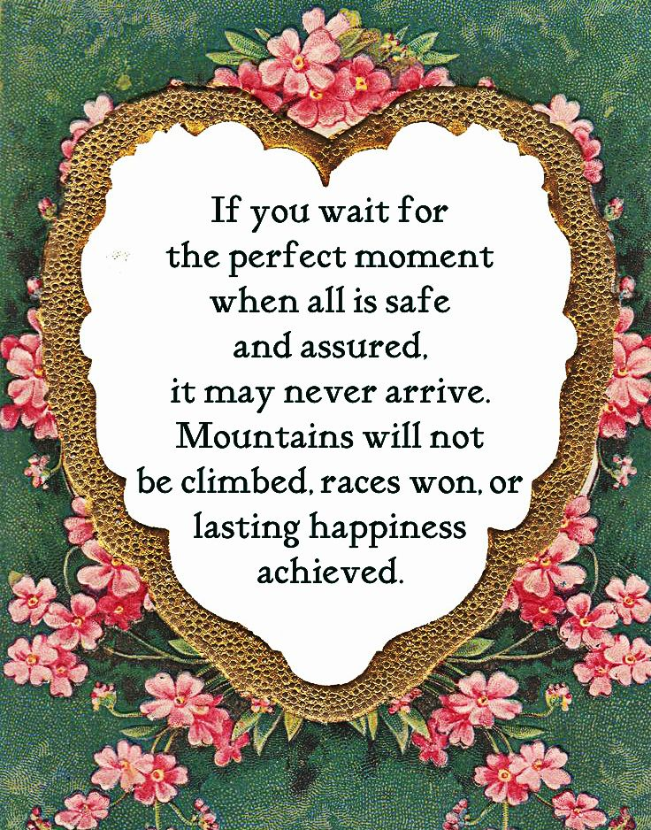 If you wait for the perfect moment when all is safe and assured, it may never arrive. Mountains will not be climbed, races won, or lasting happiness achieved.