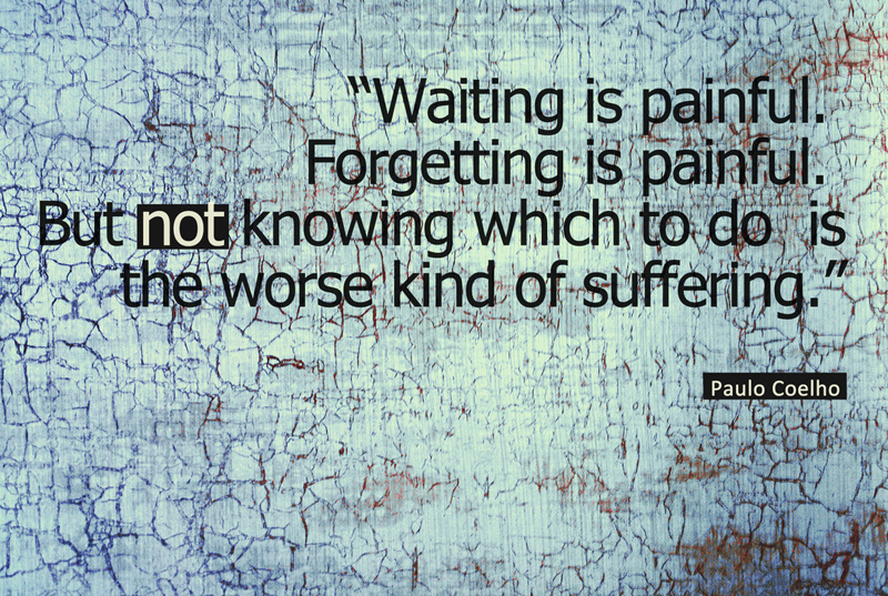 Waiting is painful. Forgetting is painful. But not knowing which to do is the worst kind of suffering. - Paulo Coelho