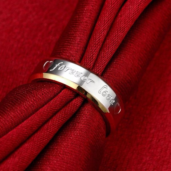 'Forever Love' Stainless Steel Couple Ring