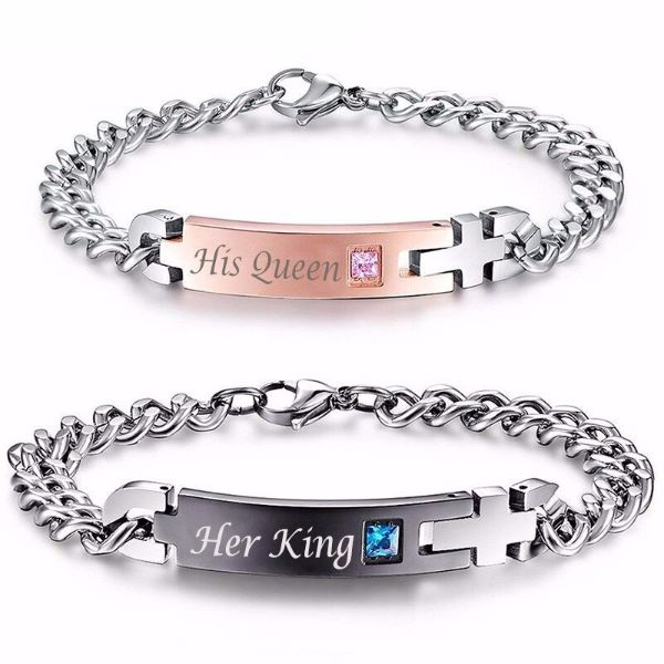 'His Queen' and 'Her King' Couple Chain Bracelets