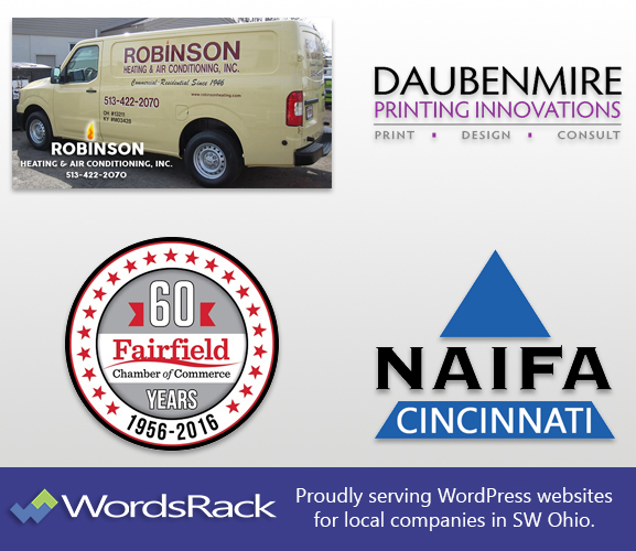 multi-client SW Ohio Business Logos Naifa - Daubenmires Printing - Fairfield Chamber 60th year logo - Robinson's Heating and Air Conditioning Inc.