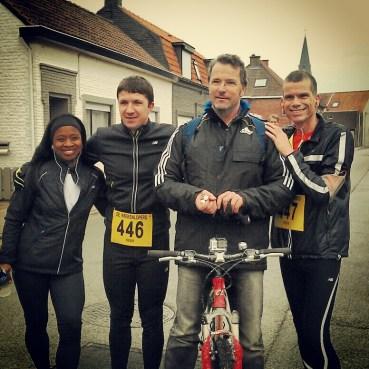 Udjen, Chris, Rob en Hans voor de start