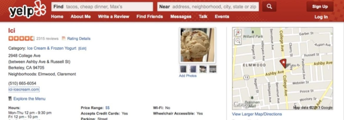 local SEO Yelp! review