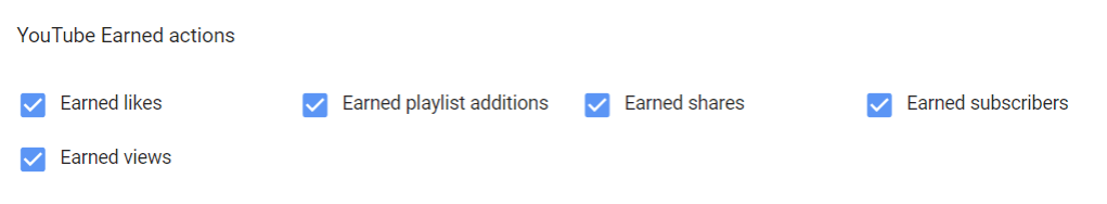 youtube earned actions