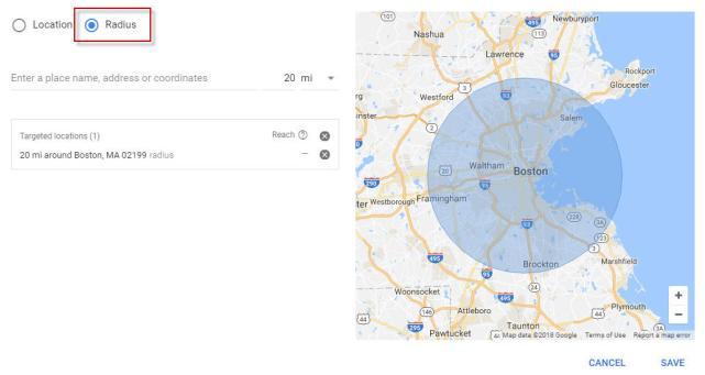 Marketing hiperlocal Segmentação por raio das configurações de geolocalização do Google AdWords