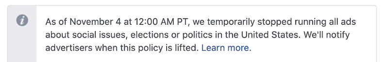 2020 in review for PPC - facebook limits social ads during election