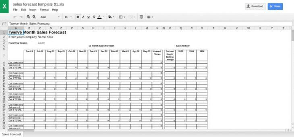 Multiproduct Sales Forecast Template From Close