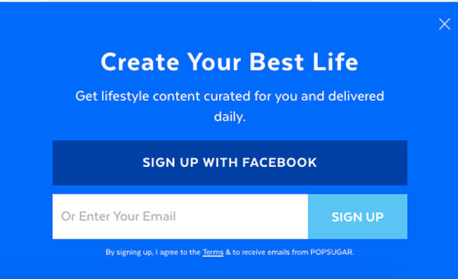 call to action examples for email newsletter signups popsugar