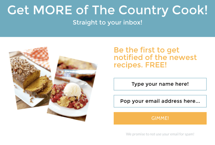 call to action examples for email newsletter signups the country cook