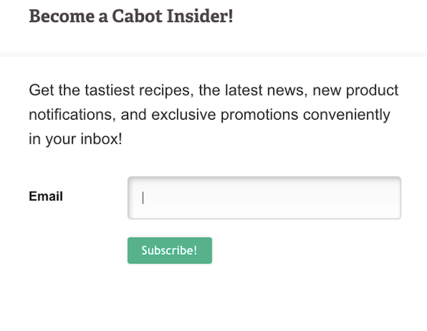 call to action examples for email newsletter signups-cabot