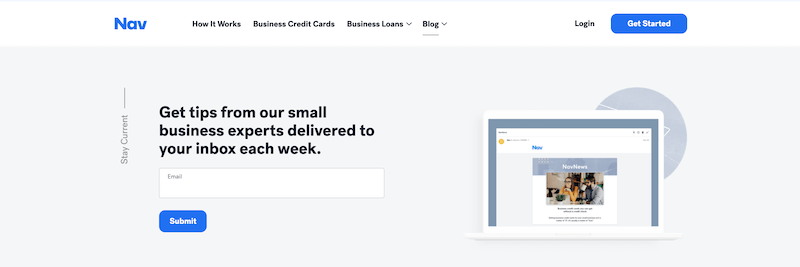 call to action examples for email signups nav