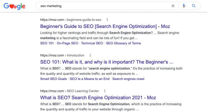 Moz content on the first page of google