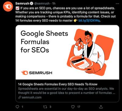 Semrush example of good content distribution on social media