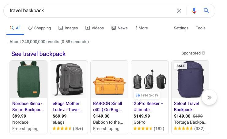 Google Shopping results for backpack search