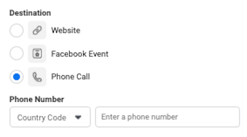 facebook click to calla ads webstite Traffic - Ad Setting Call Now