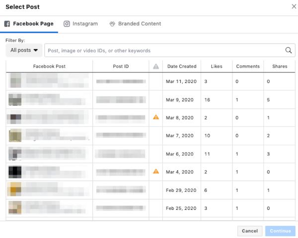facebook sponsored posts settings