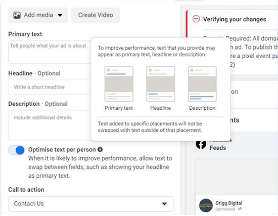 optimize text per person option in facebook ad setup