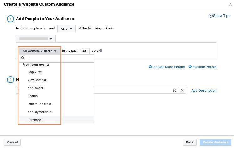 Facebook custom audience view