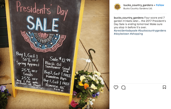 february marketing ideas presidents day sale instagram