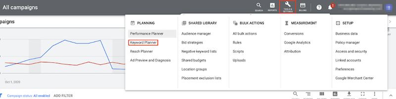 google ads for local business keyword planner