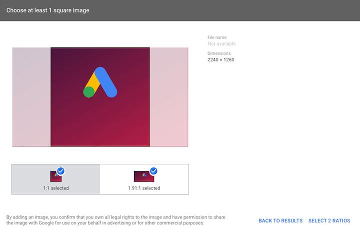 google ads image extension setup—image selection window