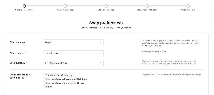 Etsy shop preferences