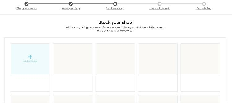 Etsy shop stock