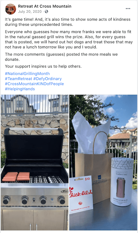 july marketing ideas grilling month facebook contest