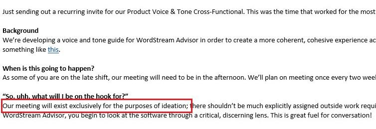 example invite for a marketing meeting