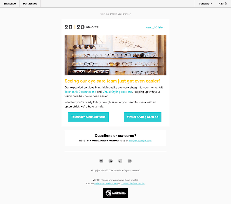promotional email example 2020 onsite