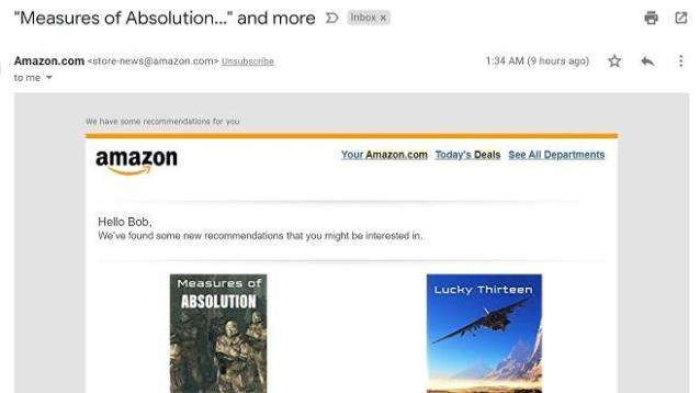 E-mail de remarketing de transações relacionadas à Amazon