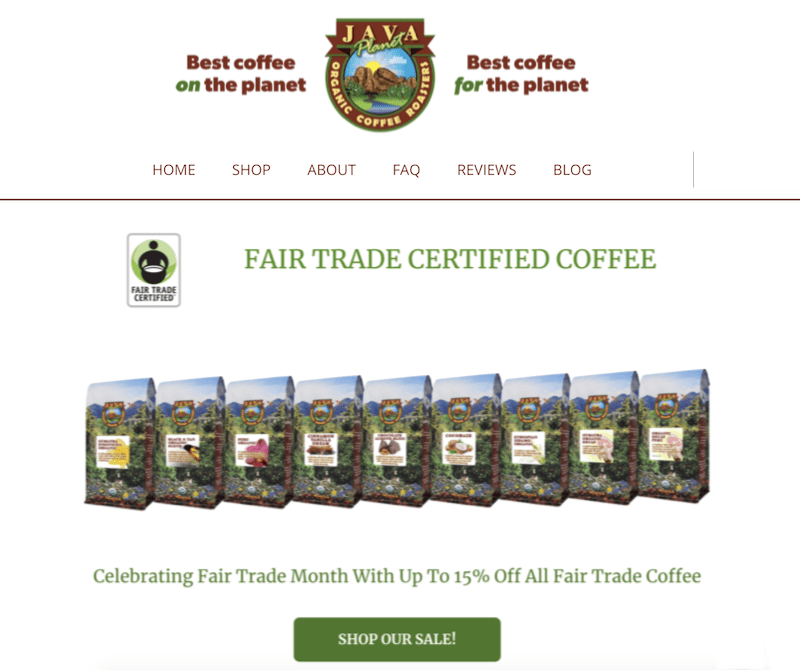 sales promotion examples fair trade coffee