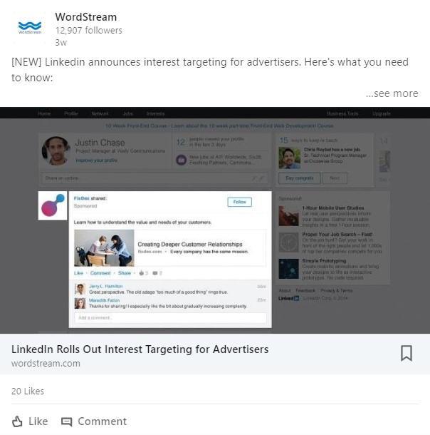 Publication sur LinkedIn