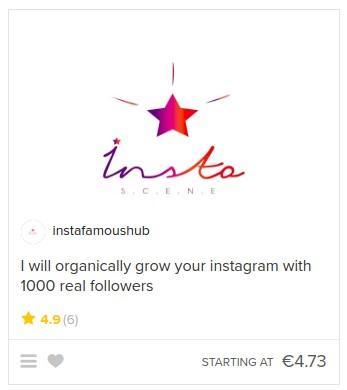 opção para comprar seguidores no Fiver