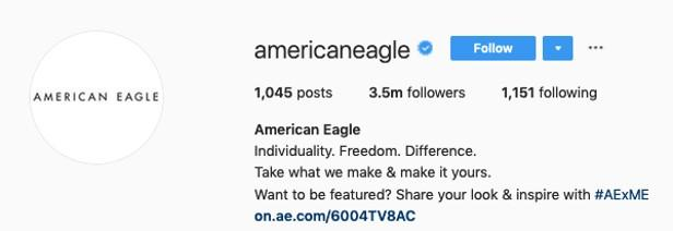 call for user-generated content on Instagram from American Eagle