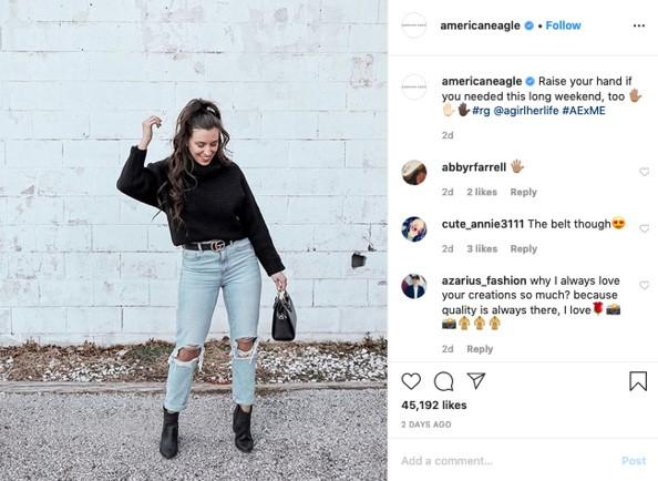 UGC on Instagram example from American Eagle