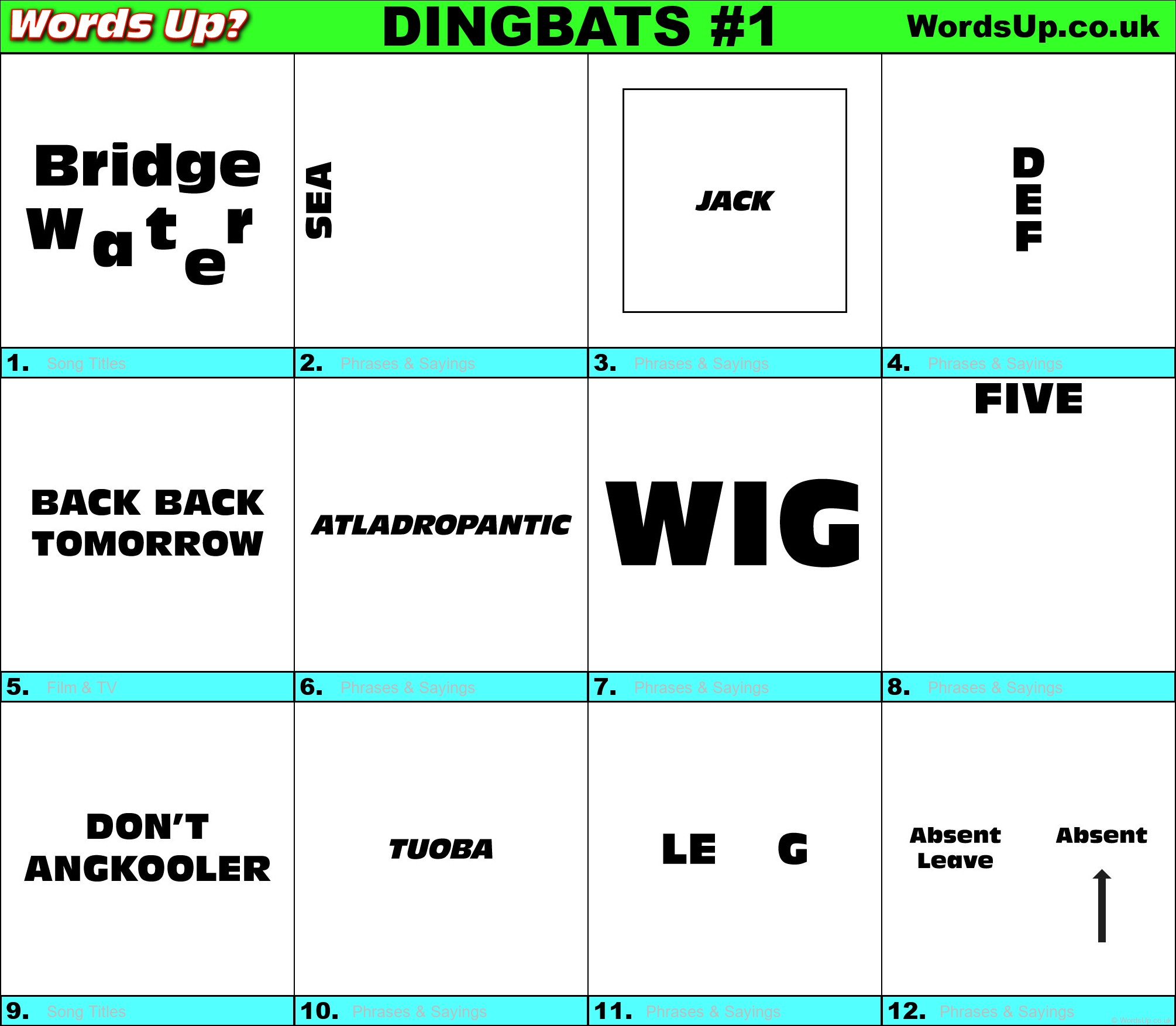 Hidden Meaning Dingbats With Answers