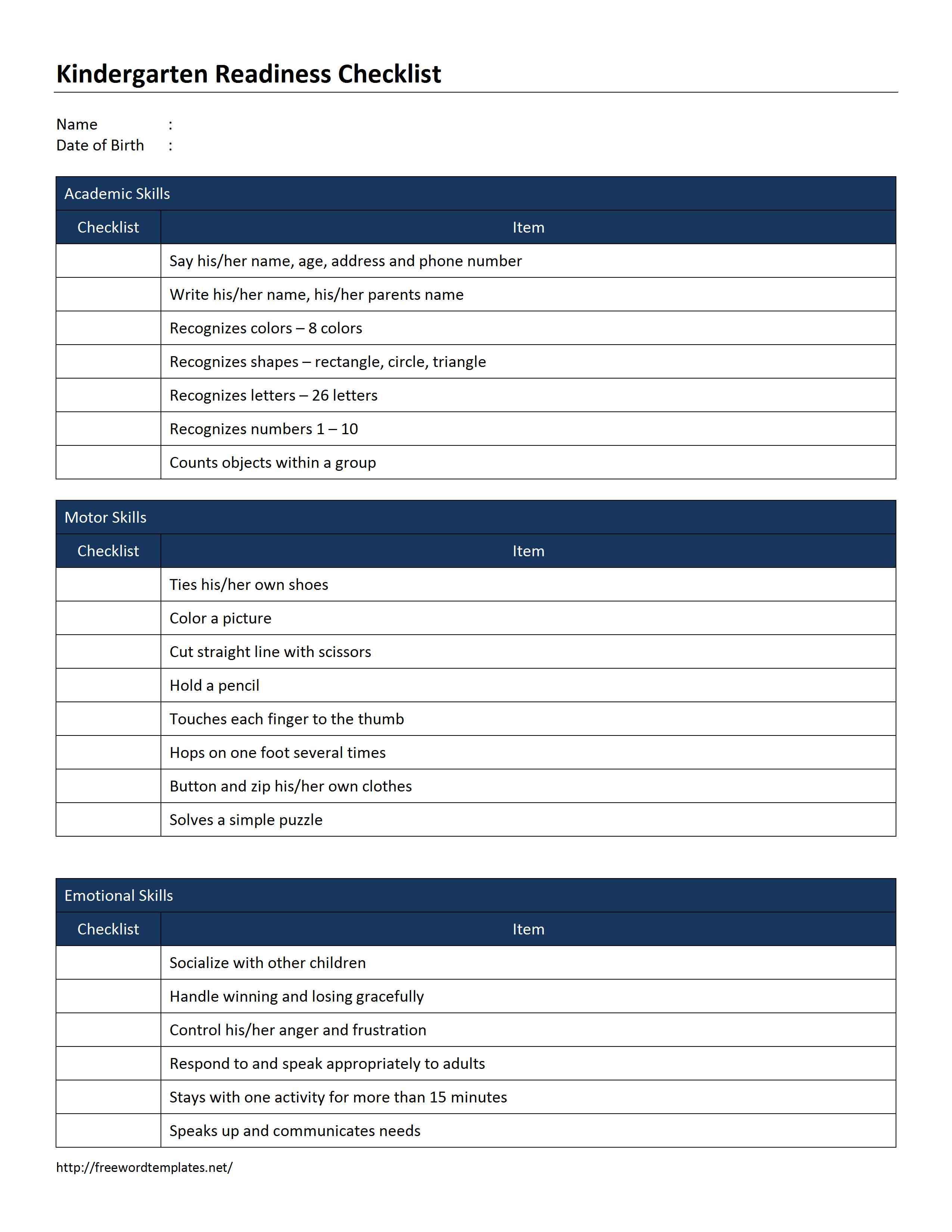 Kindergarten Readiness Checklist Template
