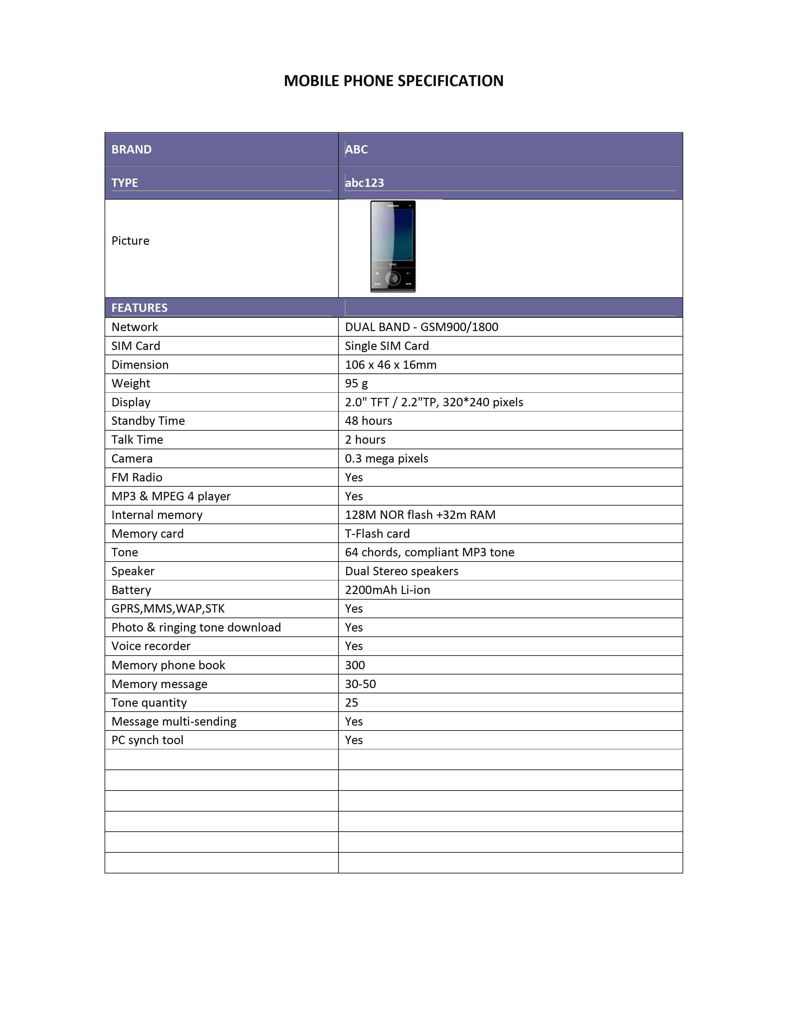Mobile Phone Specification Template