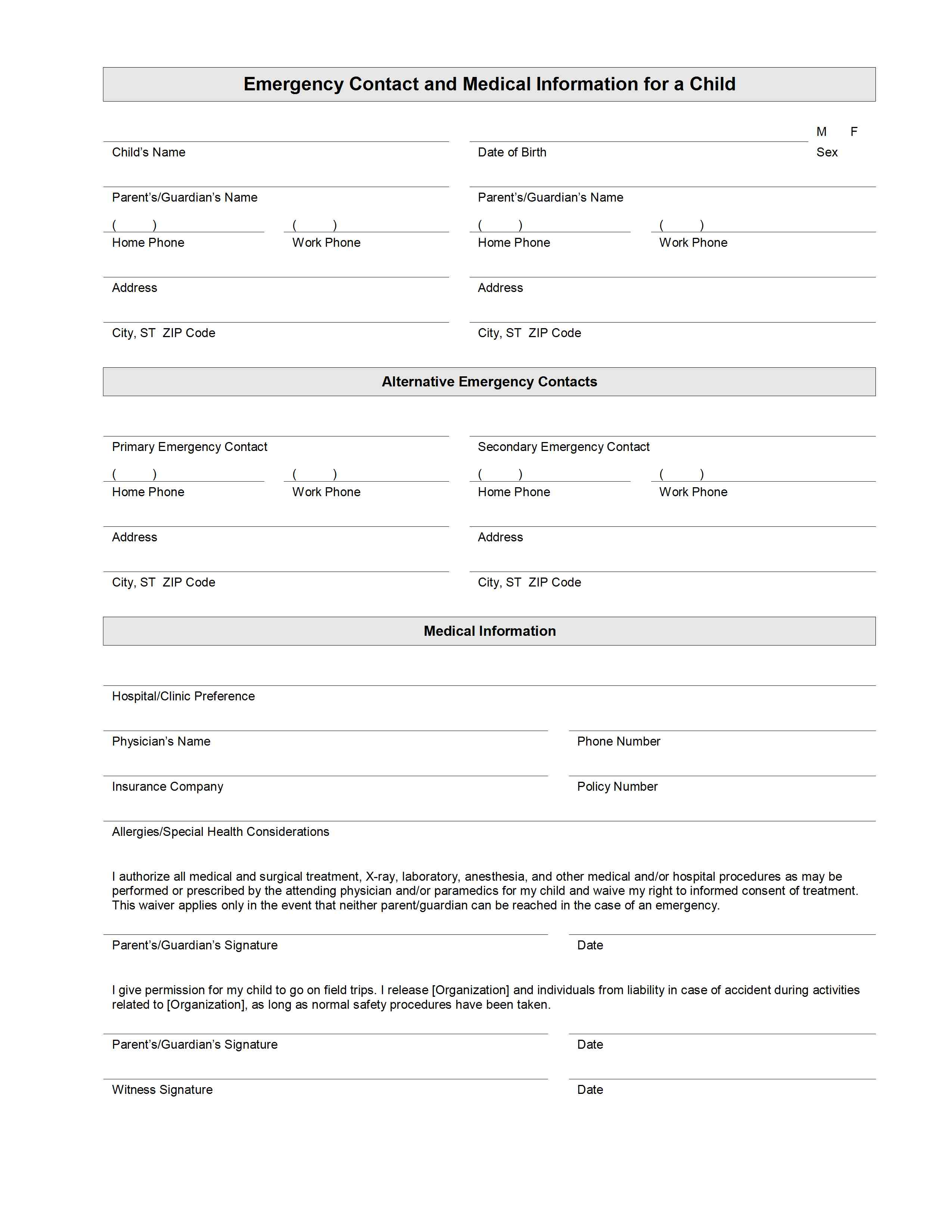 Child Emergency Contact And Medical Information Template