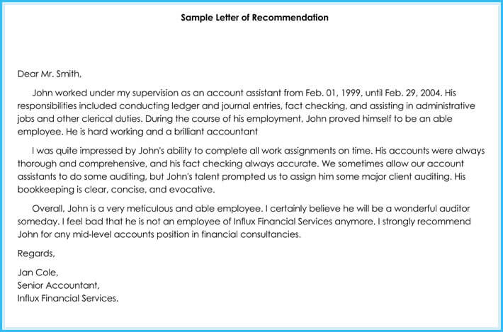 Accountant Reference / Recommendation Letters (15+ Samples