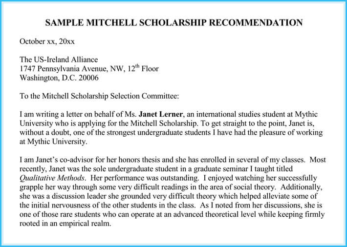 Scholarship Reference / Recommendation Letters (7+ Sample