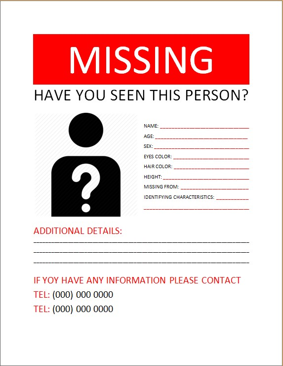 6 blank missing person poster