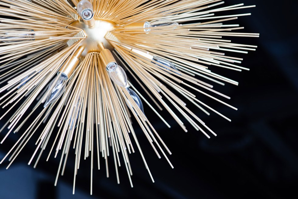 "Close up of the ""sea urchin"" Kelly Wearstler fixture in the café - The Collective NWX"