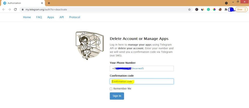 Telegram account deactivation page