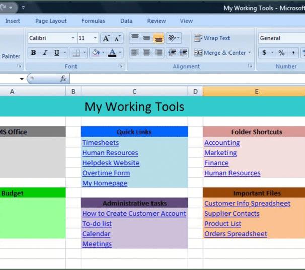 Control Panel Spreadsheet